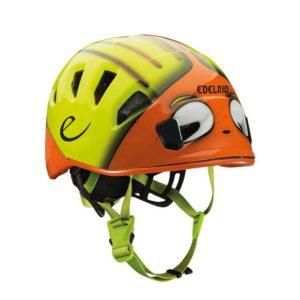 Das Bild zeigt den Edelrid Kinderhelm Kid´s Shield. Der Kinderhelm hat gelbe und orange Farben und sieht wie ein Frosch aus. Er hat grüne Kinnriemen.