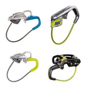 Das Bild zeigt vier Produkte zum Thema Edelrid Sicherungsgerät. Links oben das silbern-blaue Micro Jul. Rechts oben das gelblich-silberne Jul . Links unten das gellich-silberne Micro Jul. Rechts unten das schwarz-gelbliche Giga Jul.