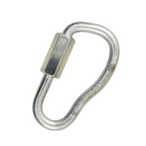 Das Bild ein Quick Link Asymmetric 7mm. Das silberne Schraubglied steht aufrecht im Bild. MAn erkennt seine Birnenform und den Drehverschluss.