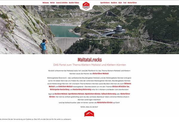 Das Bild zeigt die Startseite von Maltatal.rocks als BEispiel für adäquate Content Gestaltung im Tourismusmarketing für das Thema Klettern. Zu sehen ist die Startseite mit einem Slider, Text und dem Logo der Website.