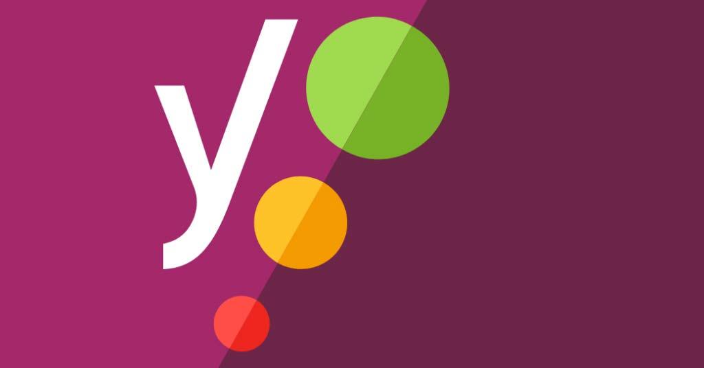 Das Bild zeigt das Logo des SEO Optimierung Tools YOAST. In einem violetten Rechteck ist ein weißes Y und drei Kreise in unterschiedlichen Größen mit den Ampelfarben rot, orange und grün zu sehen.