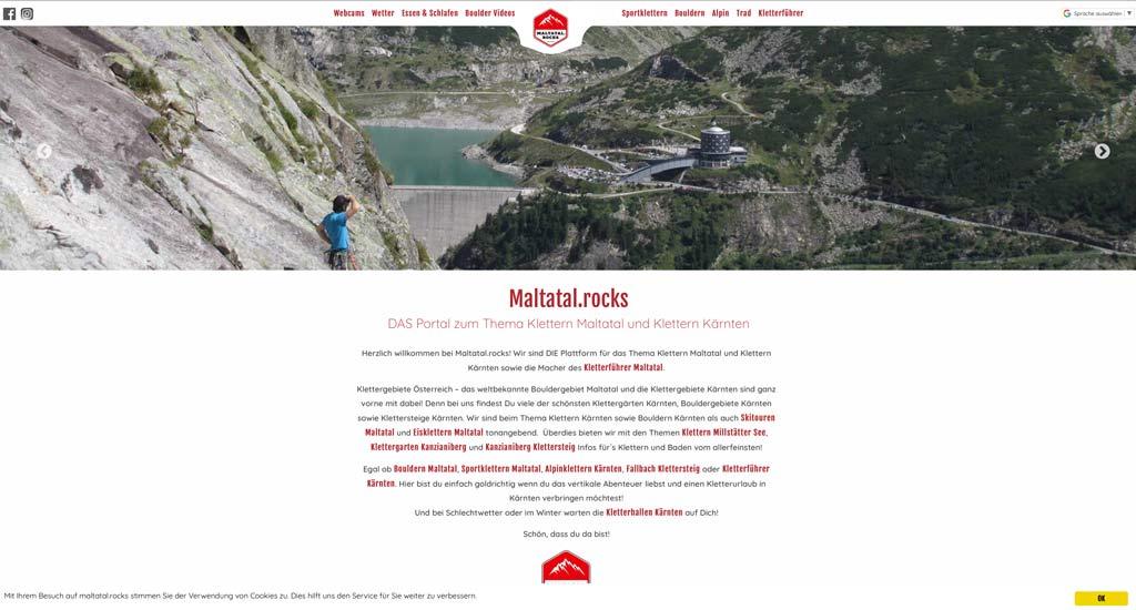 Das Bild zeigt die Ausrichtung der Startseite von Maltatal.rocks nach der Suchmaschinenoptimierung. MAn sieht die Webste mit einem Slider und den Menüpunkten in rot ganz oben.