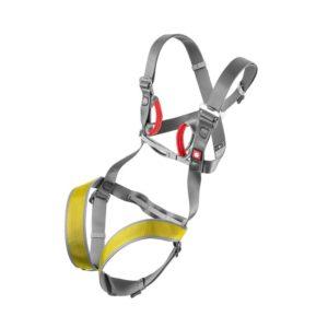 Das Bild zeigt den Ocun Mojo Kinderklettergurt. Das Klettergeschirr ist ausgebreitet und aufrecht in Mitte eines weißen Quadrates zu sehen. Man erkennt alle Produktdetails wie die Beinschlaufen, Schnallen und den integrierten Brustgurt und die roten Einbindeschlaufen..