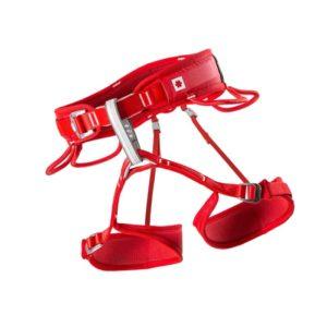 Das Bild zeigt den Ocun Twist Tech Lady Klettergurt. Der grell rote Gurt ist in Bildmitte zu sehen. Er ist vor weißem Hintergrund ausgebreitet zu sehen sodass man alle Produktdetails gut erkennt. Die Hüftschlaufe, die Materialschlaufen, die Einboindeschlaufe sowie die beiden verstellbaren Beinschlaufen.