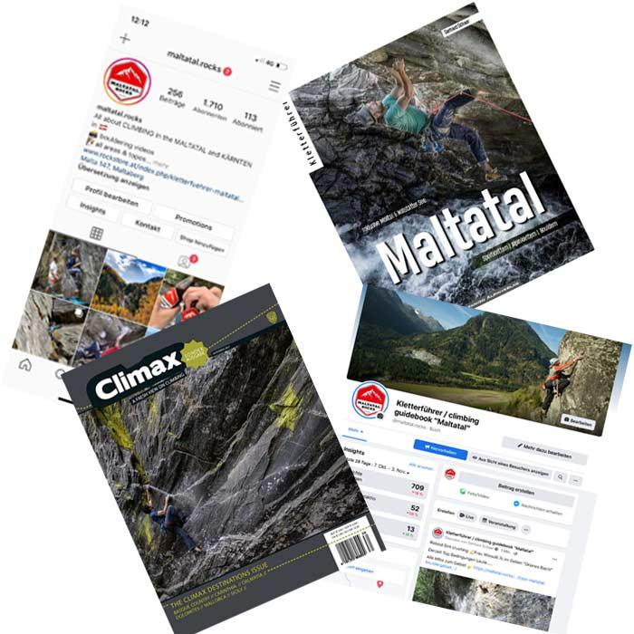 Das Bild zeigt vier Beispiele an MAßnahmen für Tourismus Marketing. Links oben ein Screenhot von Instagram, ein Kletterführer rechts oben, eine FAvebook Seite rechts unten und ein Klettermagazin links unten.