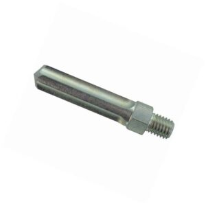 Das Bild zeigt den 12mm Bohraufsatz Raumer. Der kurze Metallbohrer steht leicht schräg in Bildmitte mit der Spitze nach links.