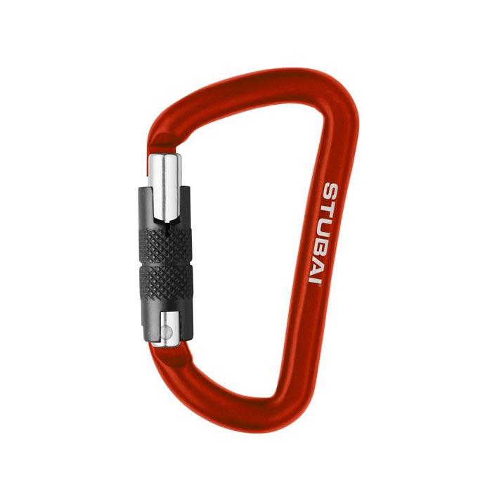 Das Bild zeigt einen kleinen, roten Materialkarabiner mit Drehverschluss als Möglichkeit um sein Chalkbag befestigen zu können.