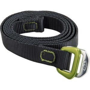 Das Bild zeigt den schwarzen Climbing Technology Belt auf einem weißem Quadrat. Der Chalkbag Gürtel ist eingerollt mit der Schnalle rechts.