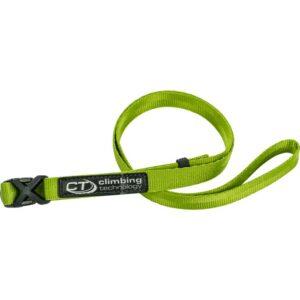Das Bild zeigt den Clippy Evo Chalkbag Gürtel in grün. Er ist eingerollt in der Mitte eines weißen Quadrates zu sehen, mit der schwarzen Steckschnalle links.