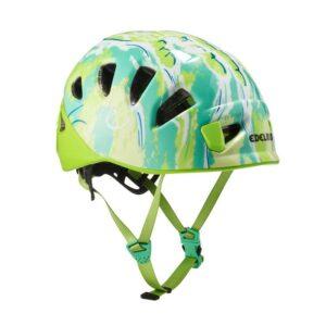 Das Bild zeigt den Edelrid Shield 2 Kletterhelm in der Farbe oasis. Er ist groß in Bildmitte zu sehen, man erkennt alle Produktdetails.