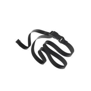 """Das Bild zeigt einen schwarzen Gürtel mit Steckschnalle zum Thema """"Gürtel Magnesiabeutel"""". Der Gürtel liegt in Bildmitte und ist in Schlingen gelegt zu sehen."""