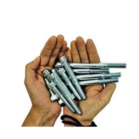 Das Bild zeigt einen Pack Klettergriffe Schrauben M10 in zwei Handflächen.
