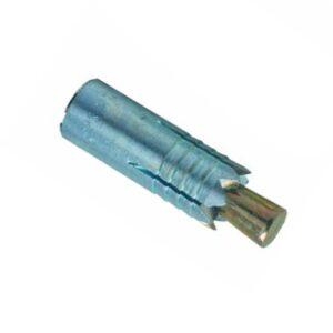 Das Bild zeigt einen Kong Anchor Fix M10 Spit auf einem weißem Quadrat. Der silberne selbstbohrende Anker lässt sich perfekt erkennen, die Spitze ist rechts mit dem Einschlag Keil zum Verspreizen des Ankers.