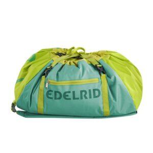 Das Bild zeigt den Edelrid Done II Seilsack auf einem weißem Quadrat. Der mint-grüne Seilsack liegt waagrecht in Bildmitte, man erkennt viele Produktdetails und den Edelrid Schriftzug.