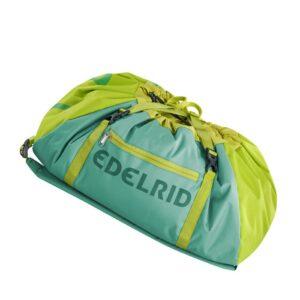 Das Bild zeigt den Edelrid Done II Seilsack auf einem weißem Quadrat. Der mint-grüne Seilsack liegt schräg in Bildmitte, man erkennt viele Produktdetails und den Edelrid Schriftzug.