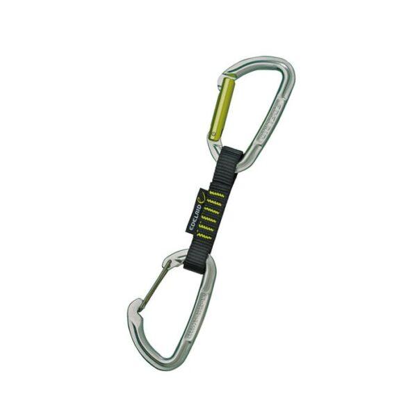 Das Bild zeigt die Edelrid Slash Wire Expressschlinge. Sie steht schräg in einem weißem Quadrat, mit dem Keylock-Schnappkarabiner oben und dem Drahtschnapper Karabiner unten.