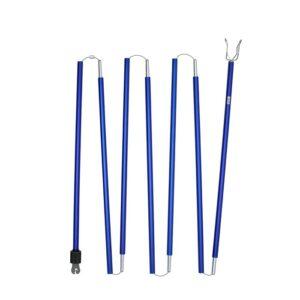 Das Bild zeigt den LACD Clipstick in nicht zusammen gebautem Zustand. Die sieben blauen Alu Stangen liegen in Schlingen auf einem weißem Quadrat.