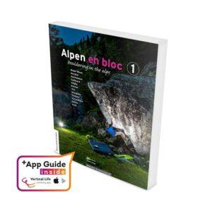 Das Bild zeigt das Cover des Alpen en Bloc 1 Boulderführer und das Vertical Life App Logo.