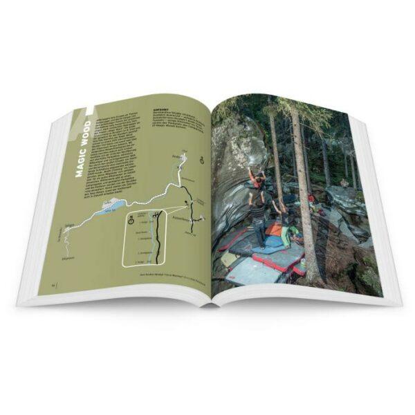 Das Bild zeigt eine Doppelseite aus einem Kletterführer. Links eine GEbietsübersicht, rechts ein Kletterbild.