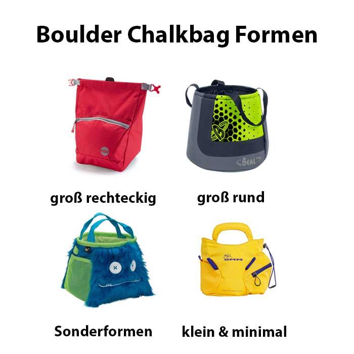 DAs Bild zeigt vier unterschiedliche Boulder Chalkbags mit passender Beschriftung.