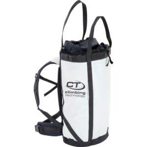 Das Bild zeigt den weißen Craggy Haul Bag Climbing Technology mit ausgefahrener Hauling Schlaufe und Rücken Polsertung sowie Hüftgurt.