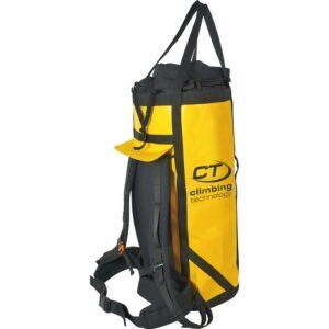 Das Bild zeigt den gelben Zenith Haul Bag Climbing Technology mit ausgefahrener Hauling Schlaufe und Rücken Polsertung sowie Hüftgurt.