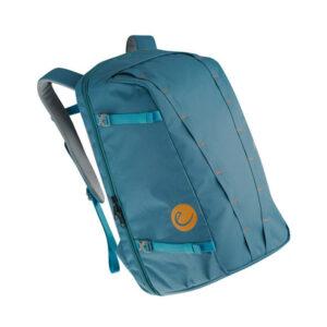 Das Bild zeigt einen blauen Kletterrucksack.