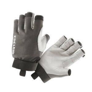 Das Bild zeigt ein Paar Edelrid Work Glove Open Kletterhandschuhe. Man sieht einen Handschuh von der Innenseite und einen von der Außenseite und erkennt somit alle Eigenschaften sehr gut.