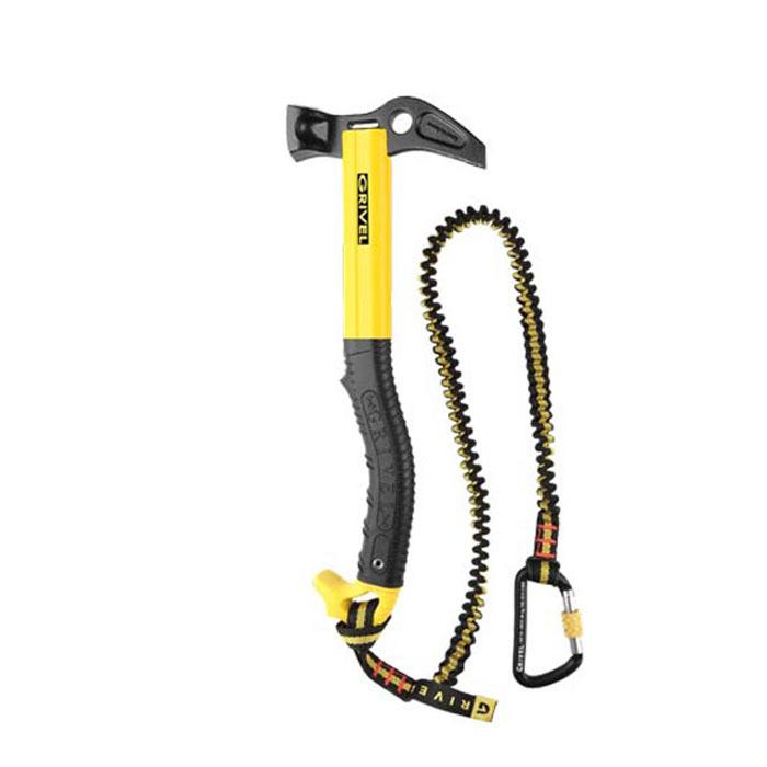 Das Bild zeigt einen gelb schwarzen Kletterhammer von Grivel.