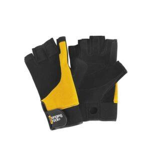 Das Bild zeigt die schwarz gelben Singing Rock FAlconer 3/4 Kletterhandschuhe. MAn sieht einen von der Vorder- und einen von der Rückseite.