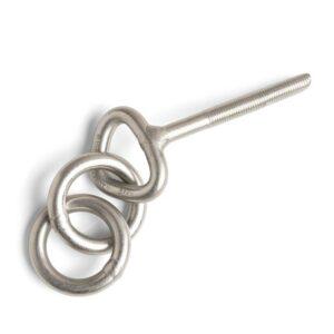 Das Bild zeigt einen silbernen Klebehaken mit 2 Ringen freiliegend auf einem weißem Quadrat. Der Haken liegt dabei schräg im Bild.