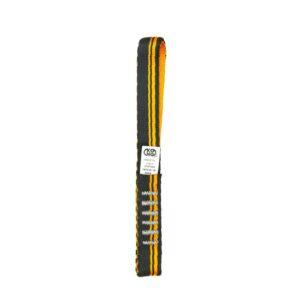 Das Bild zeigt eine schwarz-orange Expressschlinge Nylon 16cm auf einem weißem Quadrat.