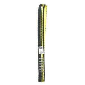 Das Bild zeigt eine schwarz-gelbe Expressschlinge Nylon 21cm auf einem weißem Quadrat.