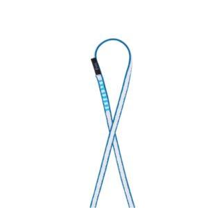 Das Bild zeigt eine blaue Bandschlinge 240cm in einer Schlaufe auf einem weißem Quadrat.