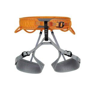Das Bild zeigt den orange-grauen Singing Rock Ray Klettergurt XXL von der Vorderseite.