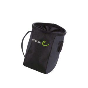 Das Bild zeigt einen schwarzen Edelrid Stuff Bag auf einem weißem Quadrat. MAn erkennt den Kordelzug und das Edelrid Logo.