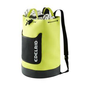Das Bild zeigt den gelb-schwarzen Edelrid Cask 28 Seilsack mit Netztasche und dem weißem Edelrid Logo.