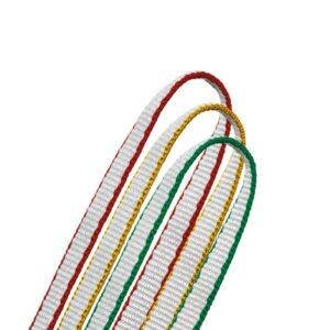 Das Bild zeigt die Petzl Bandschlinge St´Anneau in drei Farben auf einem weißem Quadrat.