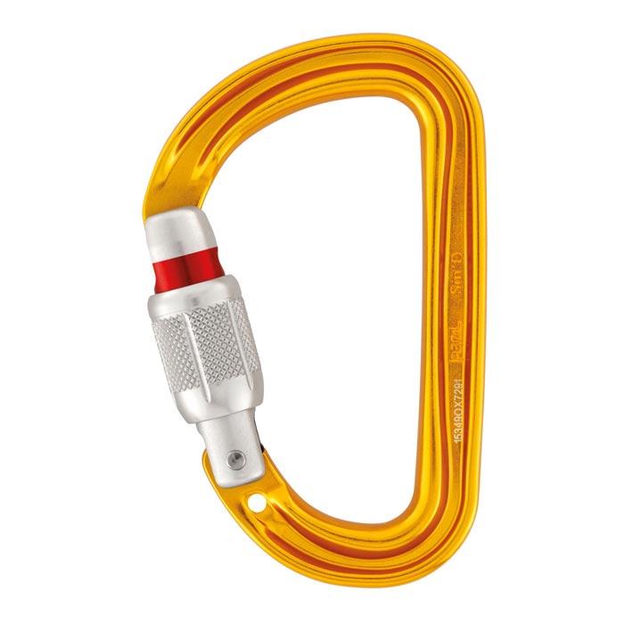 Das Bild zeigt einen goldgelben Petzl Schraubkarabiner mit silbernem Schraubverschluss und rotem Verschluss Indikator.