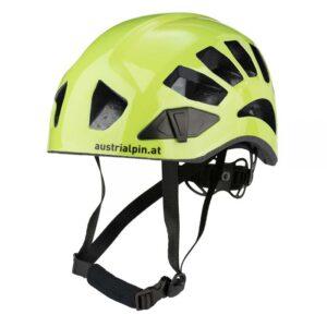 Das Bild zeigt den Austrialpin Helmut Light+ Kletterhelm in grell-grün. Man sieht den Helm von der Seite und erkennt alle Produktdetails.