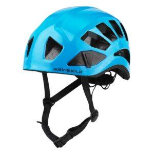 Das Bild zeigt den Austrialpin Helmut Light+ Kletterhelm in blau. Man sieht den Helm von der Seite und erkennt alle Produktdetails.