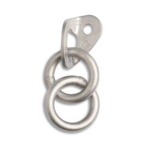 Das Bild zeigt eine silberne Bohrhakenlasche Abseilpiste mit zwei Ringen.