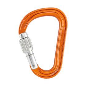 Das Bild zeigt einen orangen Kletterkarabiner mit silbernen Schraubverschluss auf einem weißem Quadrat.