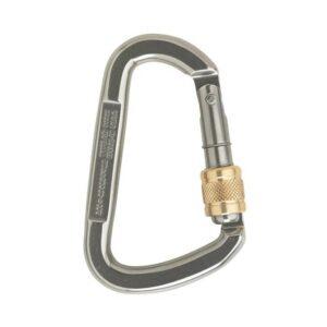 Das Bild zeigt einen silbernen Schraubkarabiner Stahl mit goldenem MEssing Schraubverschluss auf der rechten Seite.