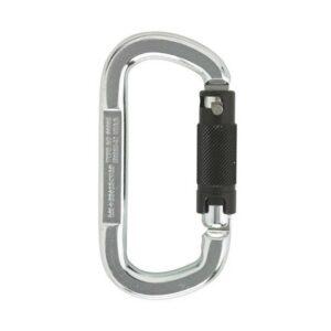 Das Bild zeigt einen silbernen Stahlkarabiner Twist Lock mit schwarzem Drehverschluss auf der rechten Seite.