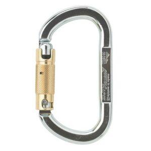 Das Bild zeigt einen silbernen Stahlkarabiner XL mit gelbem Twist-Lock Verschluss.